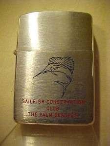 1960 Zippo Lighter   Line Drawn Rare Variation Double Line Sailfish