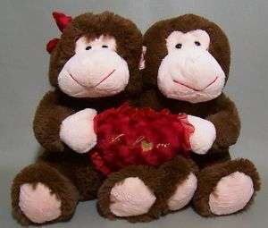 Love You Valentines Monkey Couple Plush Hugging Goffa