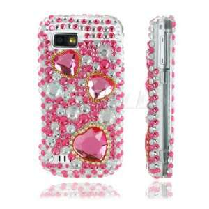 Ecell   NEW PINK HEARTS 3D CRYSTAL BLING CASE FOR SAMSUNG