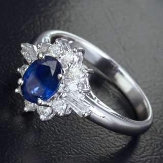 SAPPHIRE .43ct DIAMOND REAL 14K WHITE GOLD Engagement Wedding RING