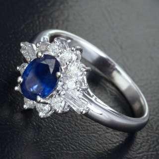 SAPPHIRE .43ct DIAMOND REAL 14K WHITE GOLD Engagement Wedding RING