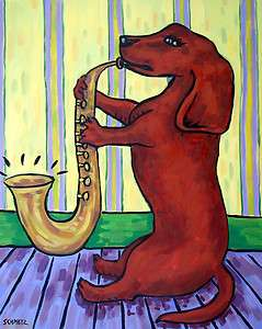 Dachshund playing saxophone 11oz. dog art coffee Mug