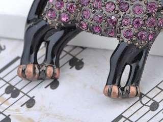 Amethyst Purple Crystal Rhinestone Donkey Black Enamel Animal Cute Pin