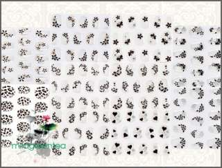 S048 Flower Love Heart Nail 3D Full Tips Sticker Set