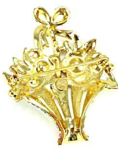Butler & Wilson Gold & Crystal Multi Flower Basket Brooch