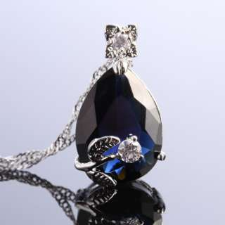 Pear Cut Blue Sapphire Pendant Necklace Chain Lady Fashion Jewelry