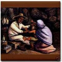 Diego Rivera Ceramic Art Tile Indian Healer (Curandero)