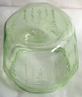 Princess Green Depression Glass Cookie Biscuit Jar with Lid Anchor