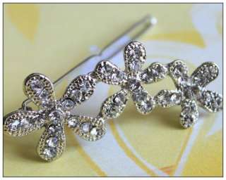 cute rhinestone crystal flower hair clip pin hair accessories
