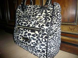 COUTURE black leopard cheetah tote purse overnight bag $325