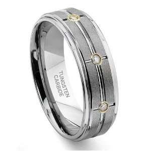Tungsten Carbide Matrix Diamond Wedding Band Ring Sz 11.0