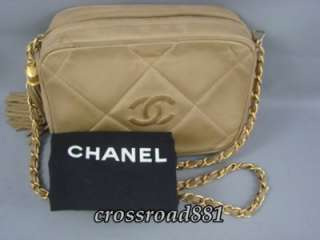Authentic Chanel Beige Lamb Skin Leather Shoulder / Messenger Style
