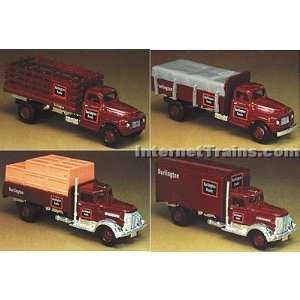 IMEX HO Scale Ford & Peterbilt 4 Truck Set   Burlington