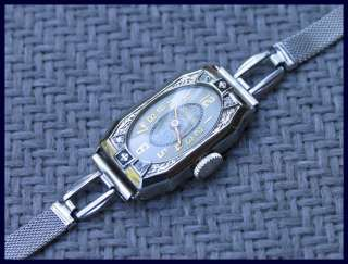 LADIES 14K WHITE GOLD DIAMOND GRUEN WRISTWATCH (1920s)