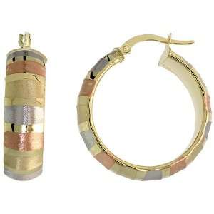 10k, Rose White Yellow Tri Color Gold Snap Post Italian Hoop Earrings