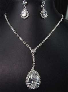 Bridal Wedding Crystal Chain Necklace Earrings Set Prom