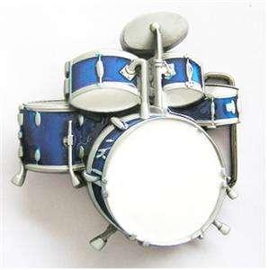 BRAND NEW DRUM SET, ROCK, MUSIC, BAND BLUE BELT BUCKLE