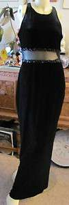 ROBERTA black velvet long formal evening wedding prom gown dress LG