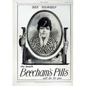 1916 ADVERTISMENT BEECHAMS PILLS LADY MIRROR MAKE UP