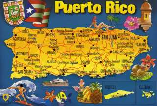 New 4x6 Postcard   Colorful Map of Puerto Rico