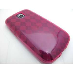 HOT PINK TPU Gel Rubber Checker Design Skin Cover Case for