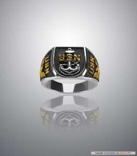 USN NAVY RING   STERLING SILVER 925, 24K GOLD PLATED