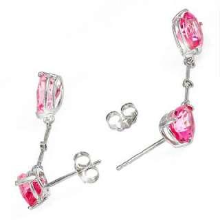 Gold Natural Pink Topaz Genuine Diamonds Studs Dangle & Drop Earrings