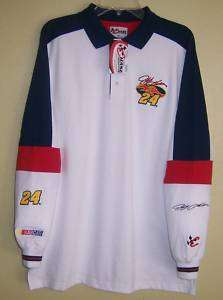 Jeff Gordon Nascar Dupont L/S Rugby Polo Shirt Med NEW