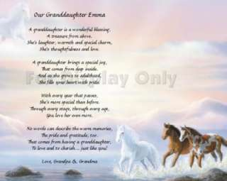 Gift Personalized Granddaughter Poem Birthday Gift Idea Horses