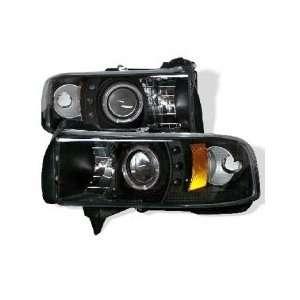 94 01 Dodge Ram Halo Projector Head Lights(Amber)   Black