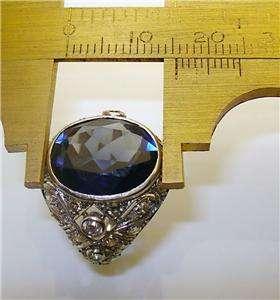 ANTIQUE ART DECO 8.0ct SAPPHIRE DIAMOND ENGAGEMENT RING PLATINUM