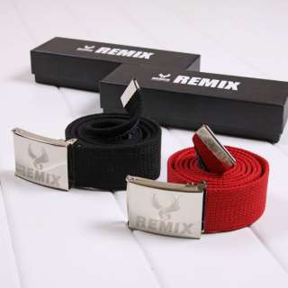 Mens boy Cotton Canvas belt Reflective metal belt buckle New
