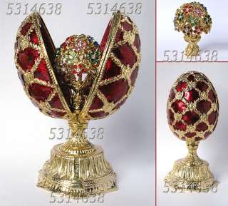 Russian Faberge Red Enameled Egg with Flowers E8