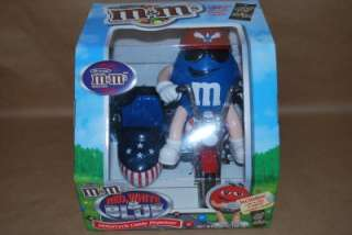LIMITED EDITION COLLECTABLE M&M RED WHITE AND BLUE MOTORCYCLE CANDY