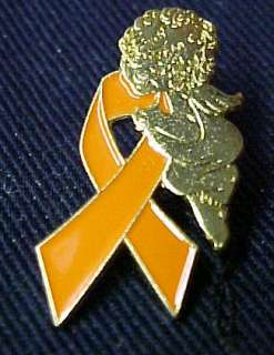 Leukemia Awareness Orange Ribbon Guardian Angel Pin New