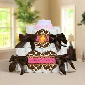 Girl Personalized Square   2 Tier Diaper Cake   Baby Shower Gift Baby