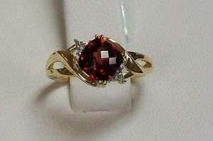 New 10K Gold Antique Square Garnet and Diamond Ring