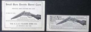 1911 FOLSOM ARMS Double Barrel Shotgun magazine Ad (2) s901