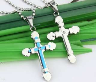 Cross Double Stainless Steel New Pendant Necklace Set