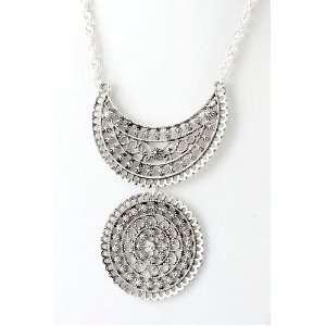 Silver Filigree Circle Design Necklace Fashion Jewelry Jewelry