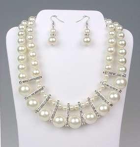 ELEGANT Bridal Dressy Creme Pearls Crystals Drape Necklace Earrings