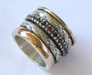 Designers Vintage Garnet Ring Silver Gold Spinner Bands