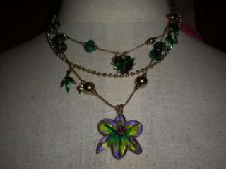 Betsy Johnson Asian Jungle Multi Chain Floral Necklace/NWT/USA Seller