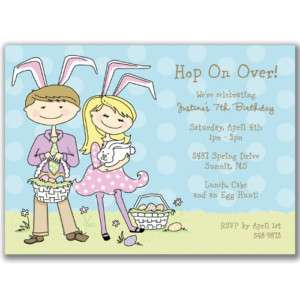 Easter Kids Invitations Birthday Party Bunny Egg Hunt