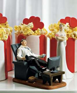 Video Game Junkie Bridal Couple Wedding Cake Topper Top