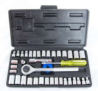 Great Neck 40 pc SAE/Metric Ratchet/Socket Set 1/4 3/8