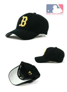 Boston Red Sox Team Baseball Cap Black Cap with Gold Color Logo BR06