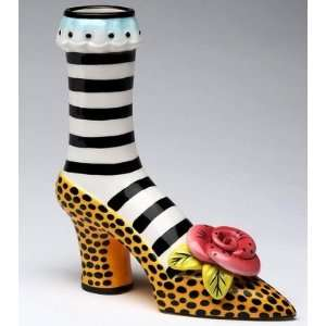 Ladies Leopard Skin Print High Heel Shoe Flower Vase