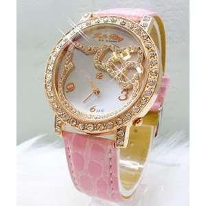 Pink Fashion Hellokitty Crystal Stone Quartz Watch
