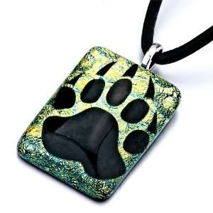 Mothers Day Gifts Pugster Dog Paw Print Murano Glass Pendant Necklace